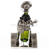 97693 Kovový stojan na víno, motív hudobník