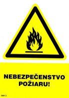 0301 2 S Nebezpečenstvo požiaru ! A5 samolepka
