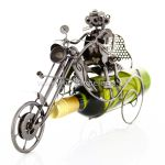 96464 Kovový stojan na víno, motív motorkári