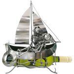 98133 Kovový stojan na víno, motív milenci na lodi
