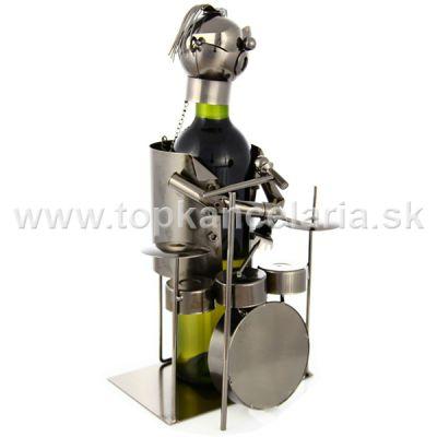 98024 Kovový stojan na víno, motív bubeník