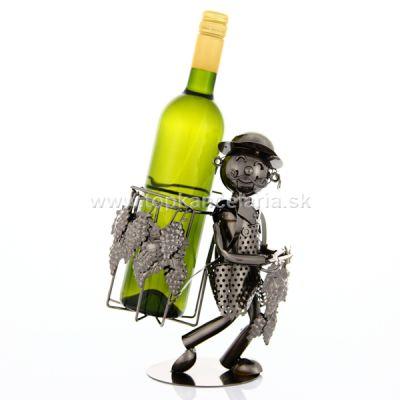 97040 Kovový stojan na víno, motív vinár