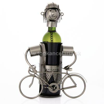 97397 Kovový stojan na víno, motív stojaci cyklista