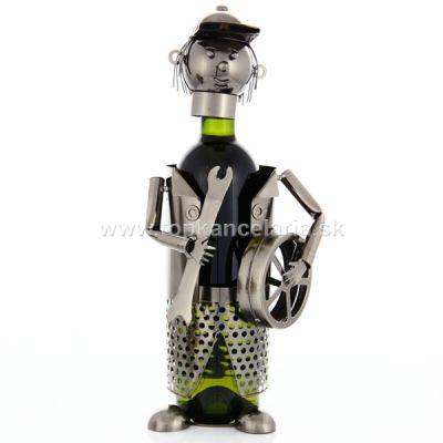 98233 Kovový stojan na víno, motív automechanik